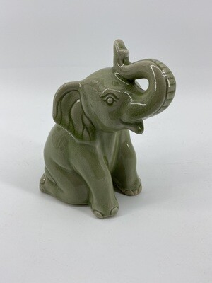 Celadon Md Sitting Elephant Trunk Up