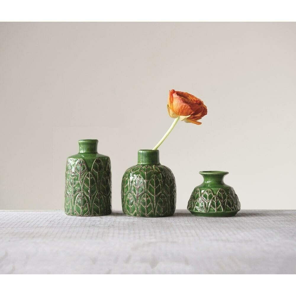 Green Leaf Vases S/3
