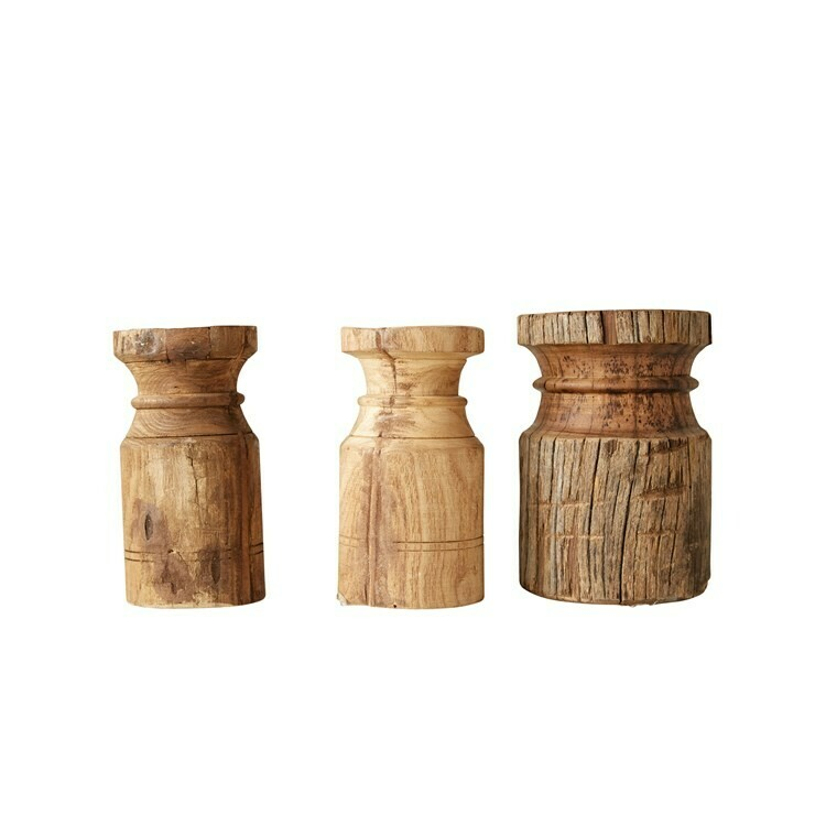 Wood Candle Holder 8""