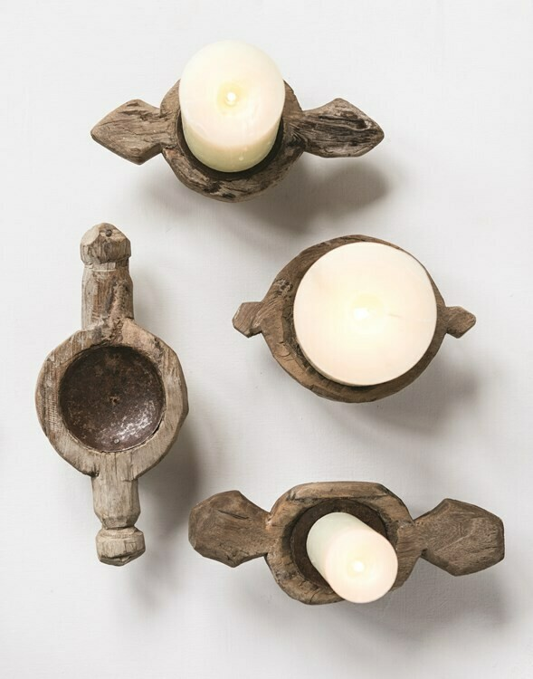 "Wood Candle Holder 4"""