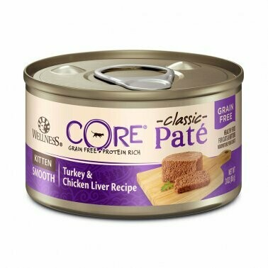 Wellness CORE Natural Grain Free Turkey & Chicken Liver Pate Canned Kitten Food 3oz