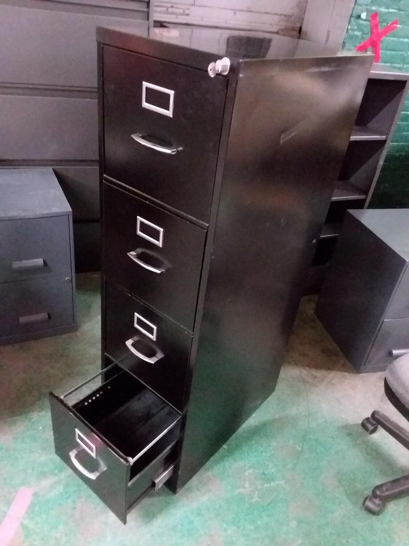 Black 4-Drawer Metal File Cabinet