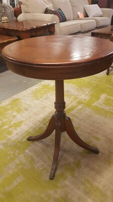 Table, leather top antique, 20