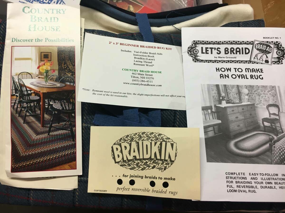 Braided Wool Rug Kit 2x3 ft, new