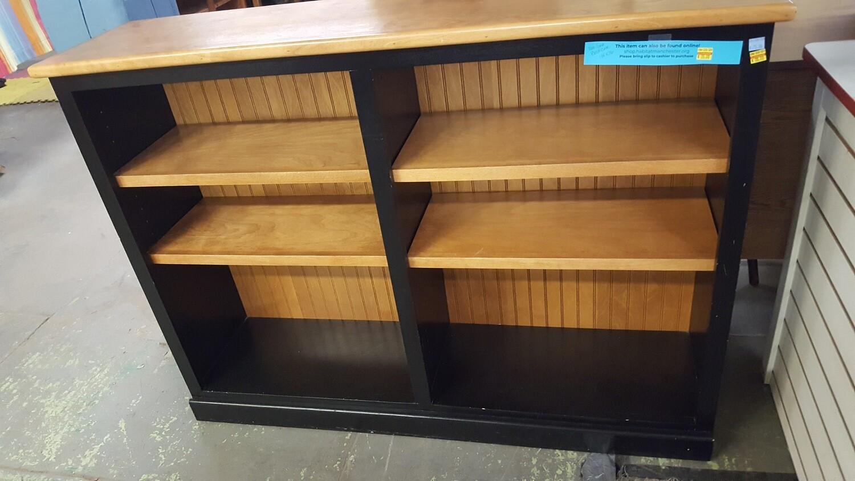 Bookcase, wood shelves, black accent