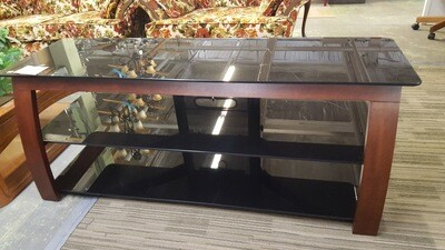 TV Stand with black glass, cherry frame