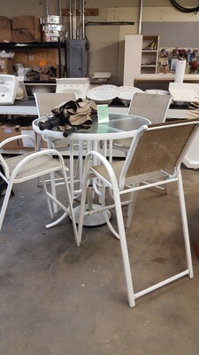 High Top Patio Table, 4 chairs, umbrella