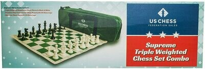 (NEW) US Chess Federation Supreme Triple Weighted Chess Set Combo (Green)