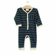Rib Stripe Romper Storm Cloud