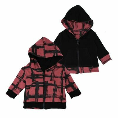 Reversibe Zip Hoodie Appleberry Plaid