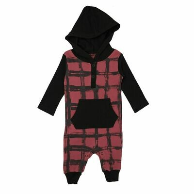 Hooded Romper Appleberry Plaid