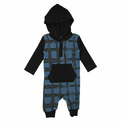 Hooded Romper Abyss Plaid