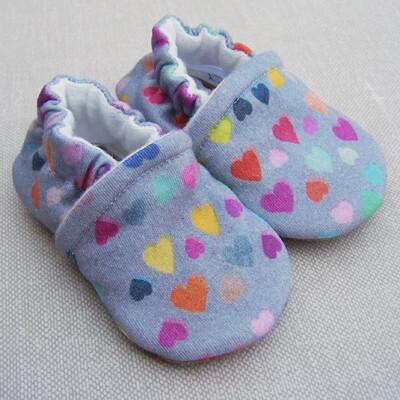 Booties Watercolor Hearts