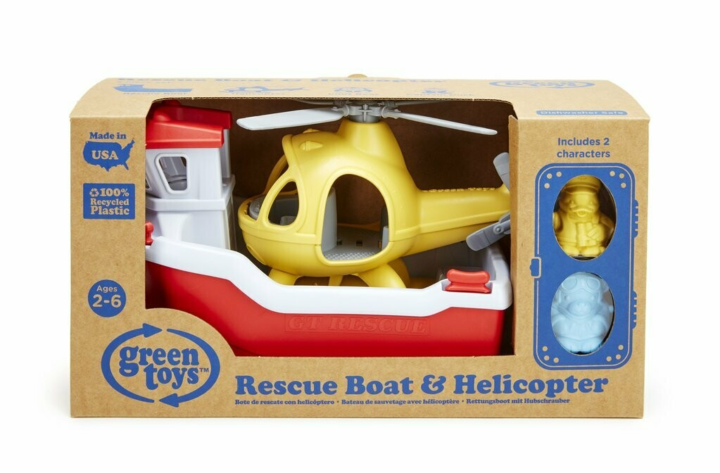 Rescue Boat and Helicopter (Green Toys)