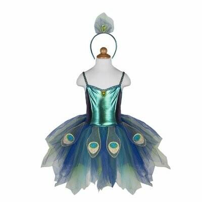 Pretty Peacock Dress & Headband size 5-6