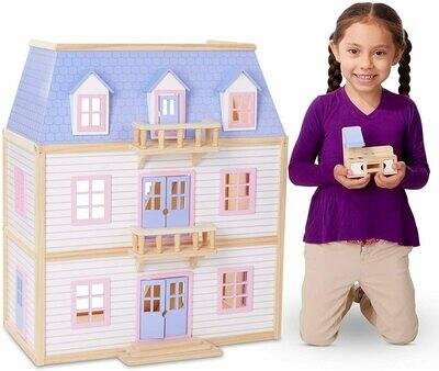 Wooden Multi-Level Dollhouse