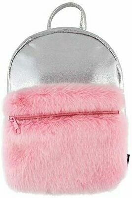 Silver Shimmer Backpack with Faux Fur