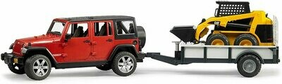 Bruder Jeep Wrangler with trailer and CAT Skid Steer