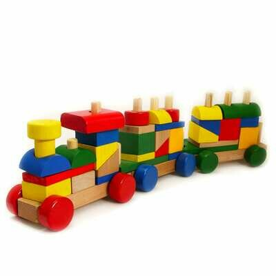 Wooden Train Stacking Blocks Set