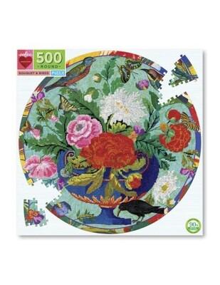 Bouquet And Birds Round Puzzle, 500 Piece