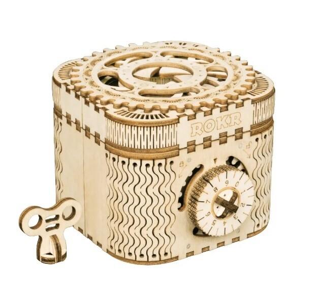 Wood Treasure Box with Lock