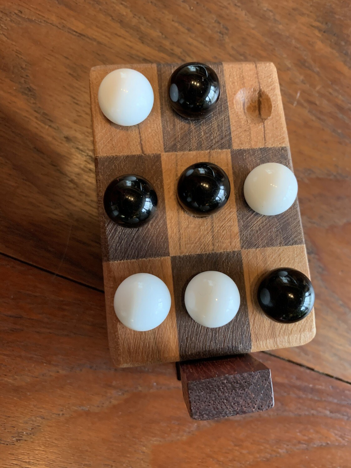 Portable Wooden Tic Tac Toe Game with Glass Marbles