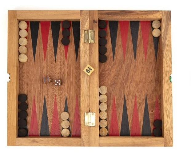 All Wood Backgammon/Checkers Travel Set