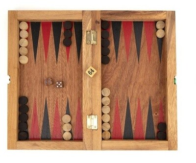 All Wood Backgammon/Checkers Travel Set