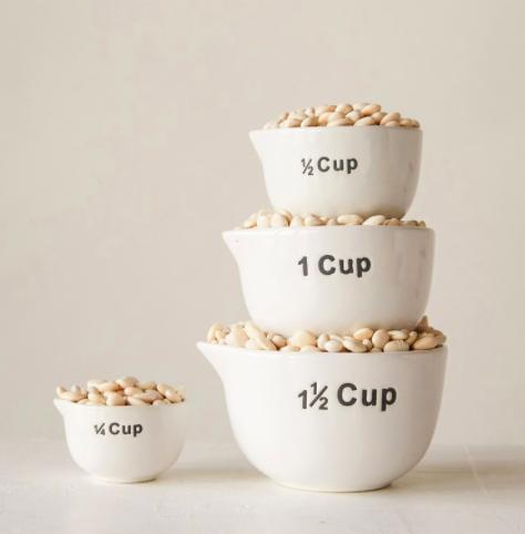 White Stoneware Measuring Cups