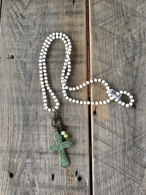 Cross with Cream Beads Necklace