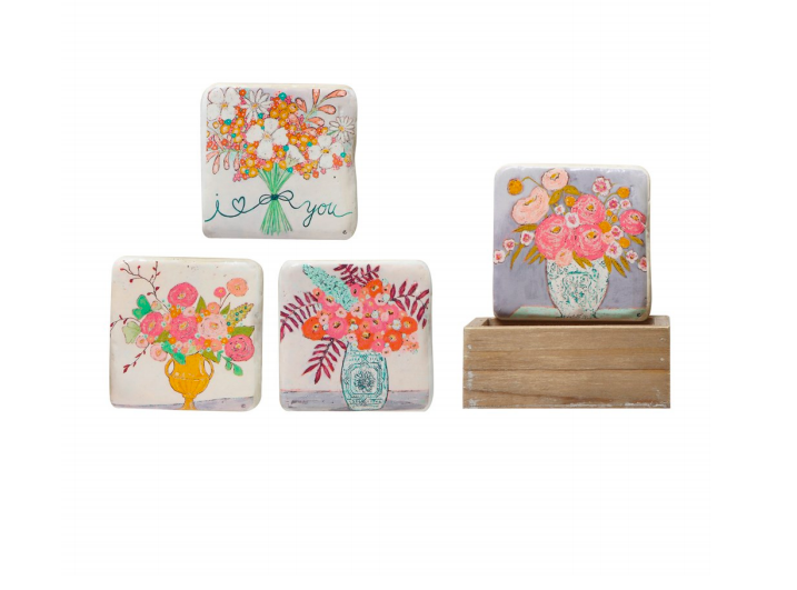 Flower Coasters in Wooden Box