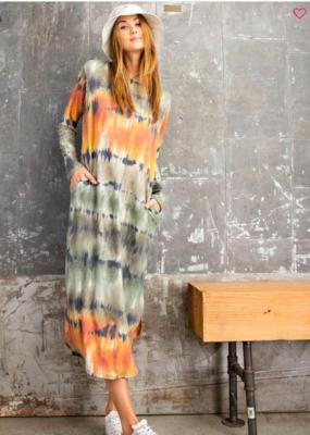 Olive/Combo Tie Dye Dress