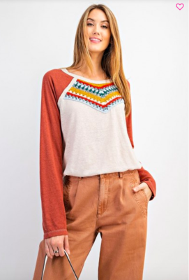 Macrame Front Knit Top