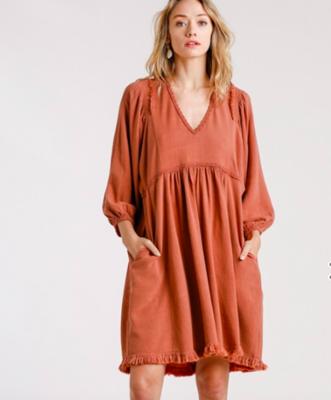 Brick Linen Lace Dress