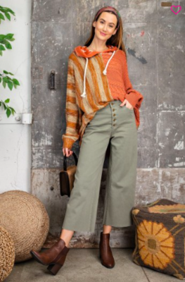 Faded Olive Button Pants