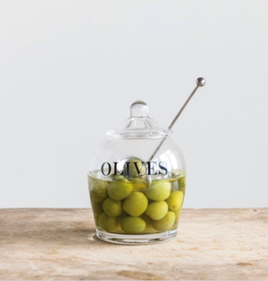 Glass Olive Jar