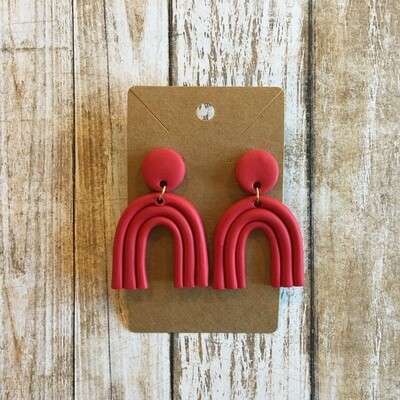 Red Rainbow Clay Earrings