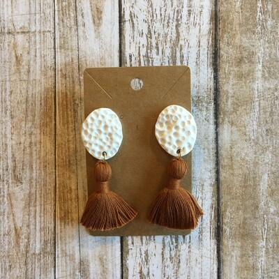 Rust Tassel Clay Earrings