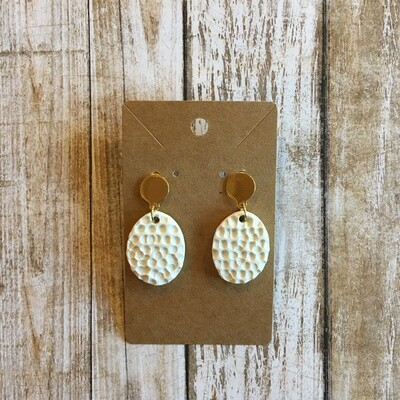 White w/ Gold Clay Earrings