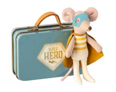 Superhero Maileg Mouse in Suitcase