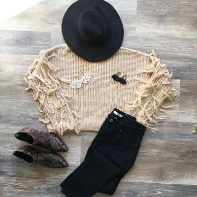 Taupe Fringe Sleeve Sweater