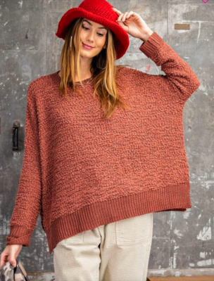 Red Bean Pompom Knit Sweater