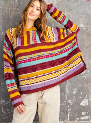 Wine Striped Boho Sweater