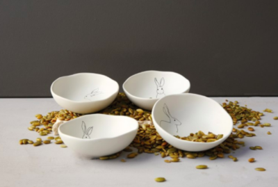 "Rabbit 4"" Stoneware Bowl"