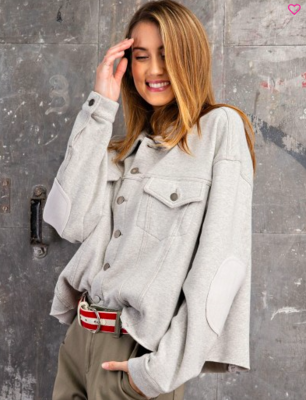 Heather Grey Shirt Jacket