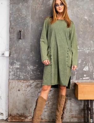 Faded Olive Knit Dress
