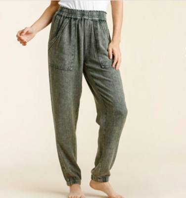 Olive Mineral Wash Joggers