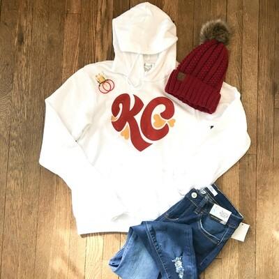 White KC Heart Hoodie