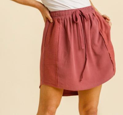Berry Linen Blend Skirt