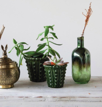 Green Hobnail Planter